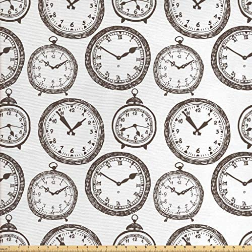 Ambesonne Clock Fabric by The Yard Vintage Pocket WatchNumbers on It Antique Design Chronometers Old Fashioned Print Decorative Fabric for Upholstery and Home Accents 1 Yard Brown White