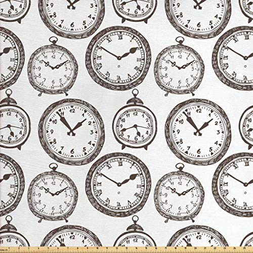Ambesonne Clock Fabric by The Yard, Vintage Pocket Watch with Numbers on It Antique Design Chronometers Old Fashioned Print, Decorative Fabric for Upholstery and Home Accents, 1 Yard, Brown White from Ambesonne