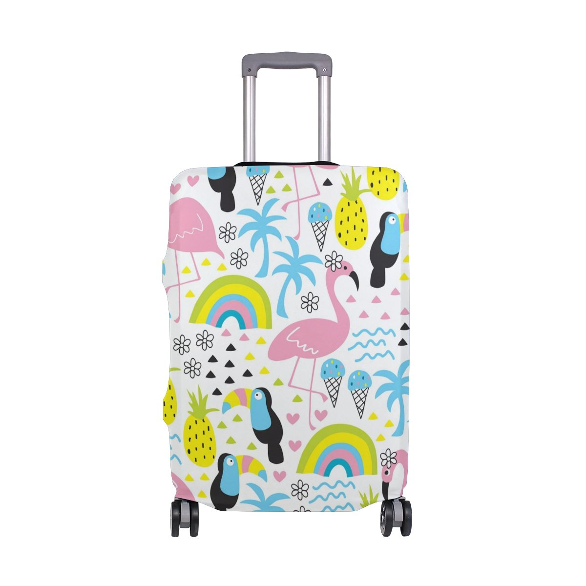 Summer Beach Palm Trees Birds Flamingo Tropical Suitcase Luggage Cover Protector for Travel Kids Men Women