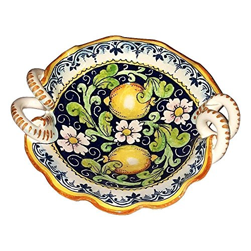 (CERAMICHE D'ARTE PARRINI - Italian Ceramic Art Pottery Serving Bowl Small Centerpieces Hand Painted Decorative Lemons Tuscan Made in ITALY)