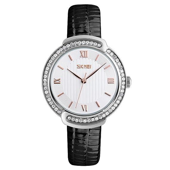 longqi reloj de cristal bisel para mujer reloj con números romanos esfera y correa de piel: Amazon.es: Relojes