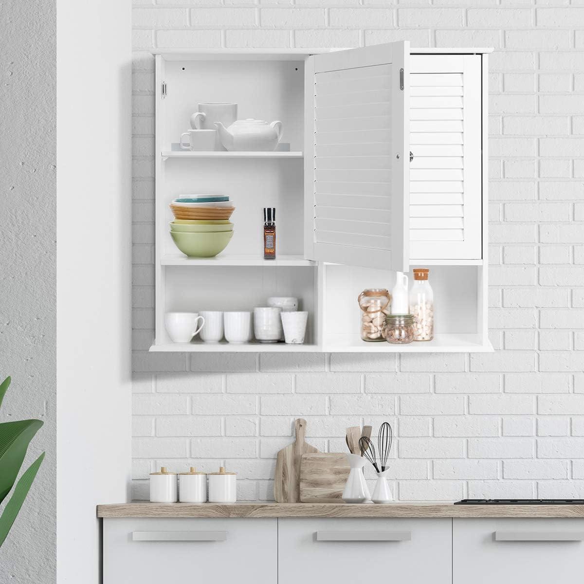 COSTWAY H/ängeschrank Wandschrank wei/ß Badh/ängeschrank Badezimmer Schrank Badezimmerschrank h/ängend Badschrank mit verstellbarem Einlegeboden