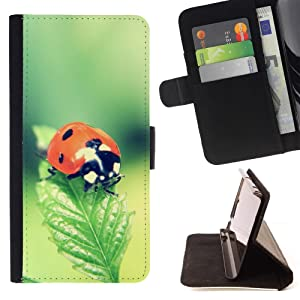 Funny Gift Phone Case Leather Wallet Protective Case with Slots for Money Cards fit Samsung ALPHA G850 //The Ladybug//