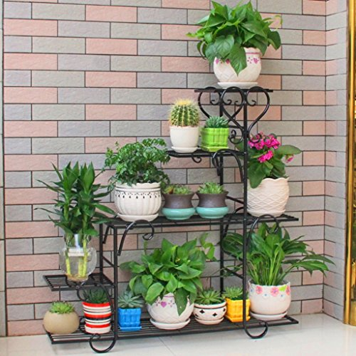 (Multi-Layer Wrought Iron Flower Stand Thick European Style Living Room Balcony Floor Green Flower Stand (Color : Black))