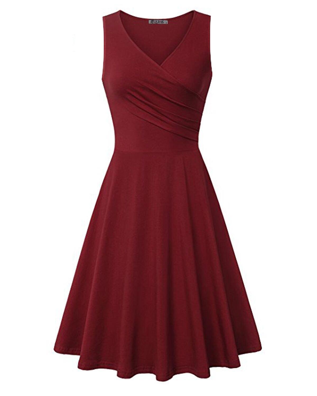 KILIG Women's V Neck Sleeveless Summer Casual Elegant Midi Dress(Wine,L)