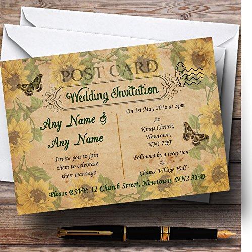Sunflowers Vintage Shabby Chic Postcard Personalized Wedding Invitations