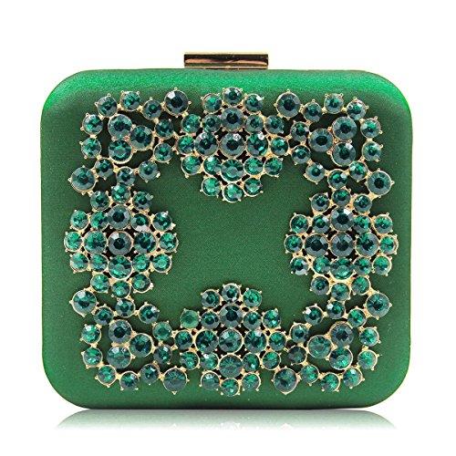 sac boîte d'honneur main pour satin femmes demoiselle pour mariage noir de Flada soirée Vert à le embrayage q8zw185T