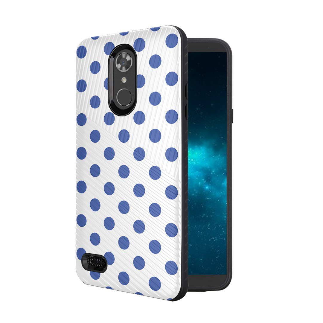 Moriko Case Compatible with LG Aristo 3, 3 Plus, Rebel 4 LTE [Armor Anti Slip Drop Protection Dust Shock Proof Shockproof Black Case Protector Cover] for LG Aristo (Polka Dot Blue)