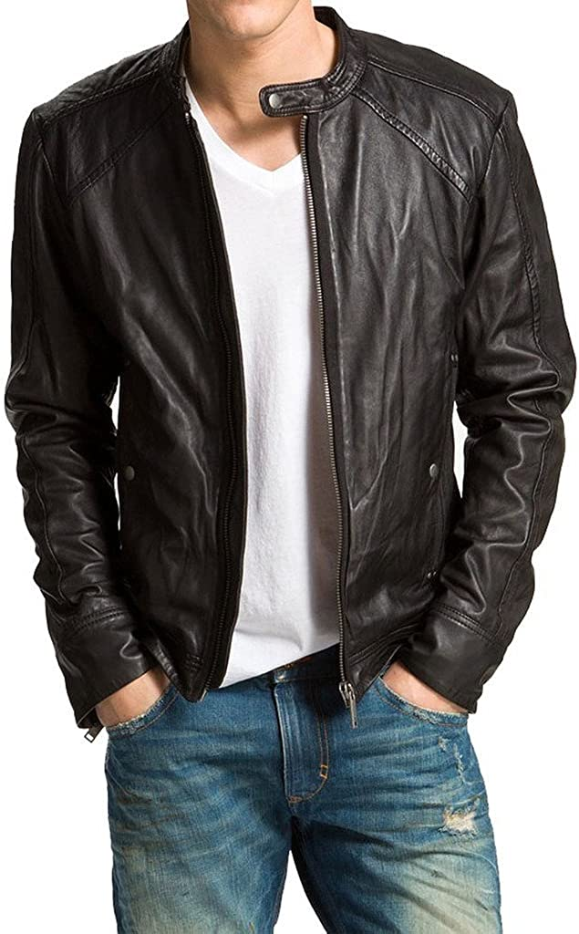 New Mens Leather Motorcycle Jacket Slim fit Leather Jacket Coat A596