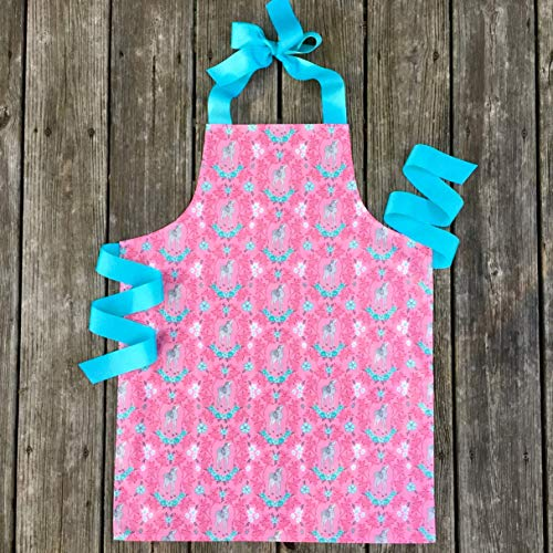 Turquoise Pink Woodland Fawn Kitchen Art Craft Handmade Gift Apron for Girls from Sara Sews