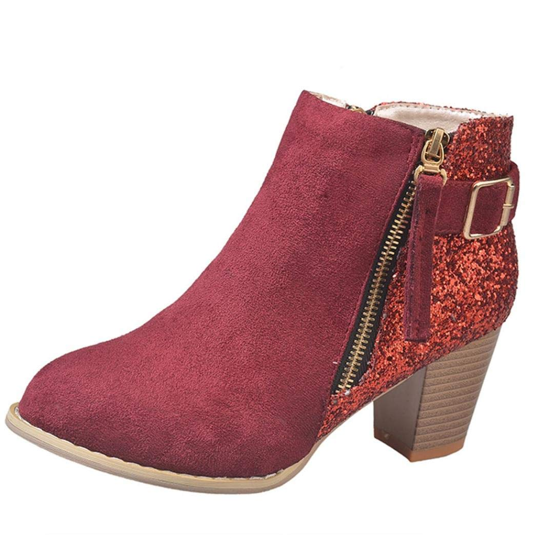 Anxinke Women's Fashion Sequins Round Toe High-heeled Side Zipper Booties Chunky Stacked Heel Ankle Boots (6 B(M) US, Wine Red)