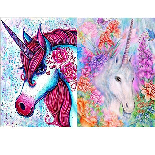 (Unicorn 5D Diamond Painting by Number Kits, 2 Pack DIY Crystal Rhinestone Diamond Embroidery Paintings Arts Craft for Wall Décor, Kids Gifts - Stress and Anxiety Relief, Killing Time(11.8 x 15.75inch) )
