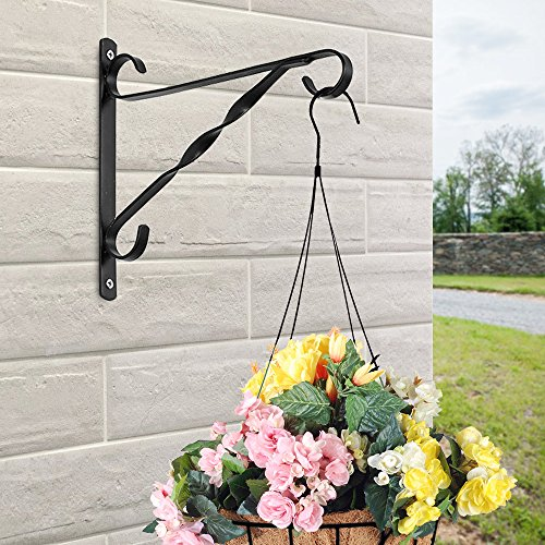 AMAGABELI GARDEN & HOME Hanging Plants Bracket 10'' Wall Planter Hook Flower Pot Bird Feeder Wind Chime Lanterns Hanger Patio Lawn Garden for Shelf Shelves Fence Screw Mount against Door Arm Hardware