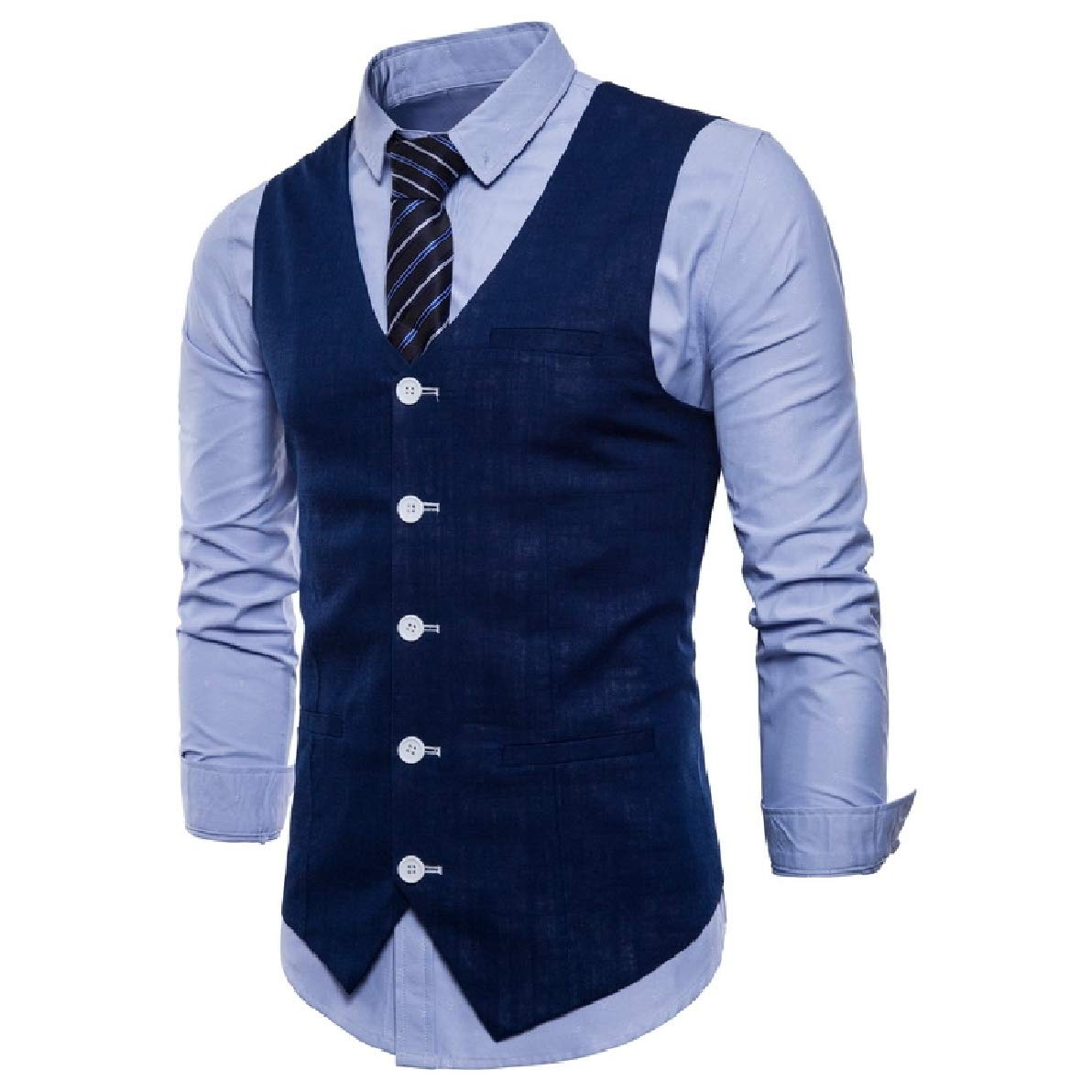 XiaoShop Men Big and Tall Single Breasted Slim V-Neck Business Waistcoat