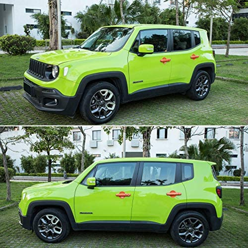 L/&U 12Pcs Door Handle Cover with Smart Keyhole and Cup Bowl Cover Trim Combo for 2016 2017 2018 Jeep Renegade,Blue