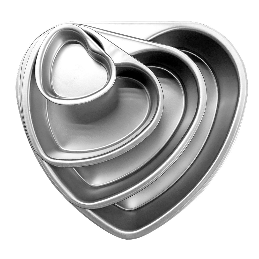 Cherion 4PC Aluminium Heart Shaped Cake Pan Set with Removable Bottom for Valentine's Day - 5'' 6'' 8'' 10''