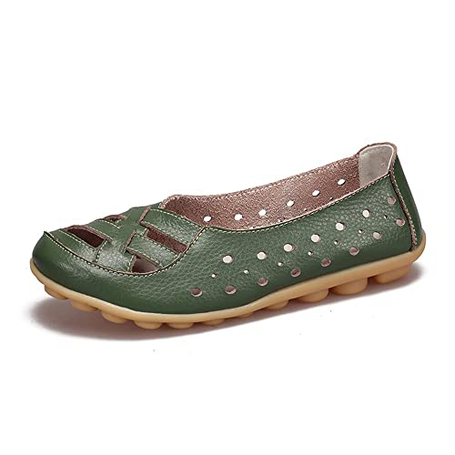 cf538f452f46a Amazon.com   IRuis Women's Leather Casual Loafers Hollow Flats Shoes ...