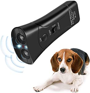 Humutan Handheld Dog Repellent, Dual Channel Electronic Animal Repellent, Handy Ultrasonic Dog Training Pet Bark Stopper for Outdoor Camping Garden