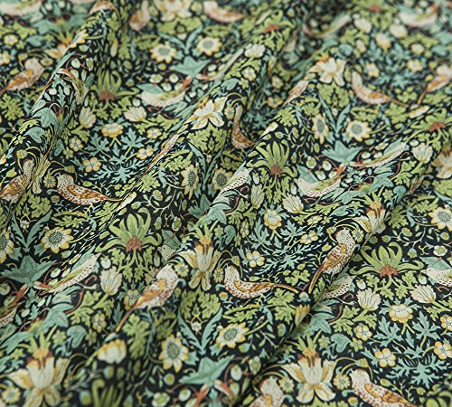 Printed Silk Blend Cotton Fabric, Countryside Floral Pattern, Animal Prints, Bird, 53.15