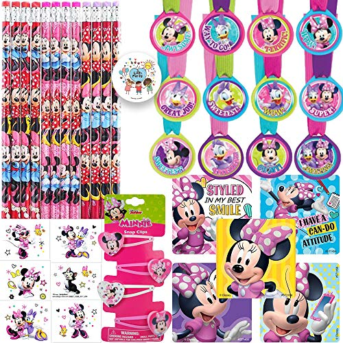 The Ultimate Minnie Mouse Happy Helpers Goodie Bag Filler and Birthday Party Favor Pack For 12 Guests With Minnie Pencils, Medals, Stickers, Hair Clips, Tattoos, and Exclusive -