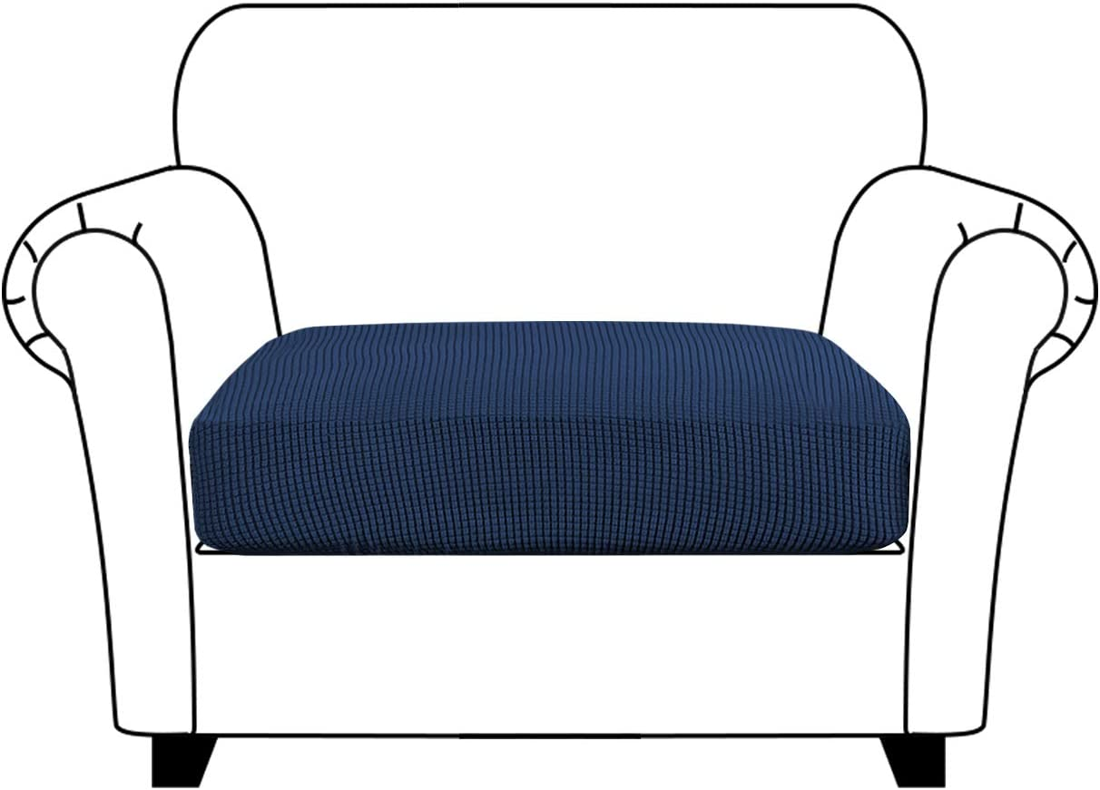 Turquoize Stretch Seat Cushion Cover Sofa Cushion Cover/Spandex Elastic Furniture Protector for Sofa Seat Jacquard Small Checked Sofa Slipcover Washable with Elastic Bottom, Chair Cushion Cover, Navy