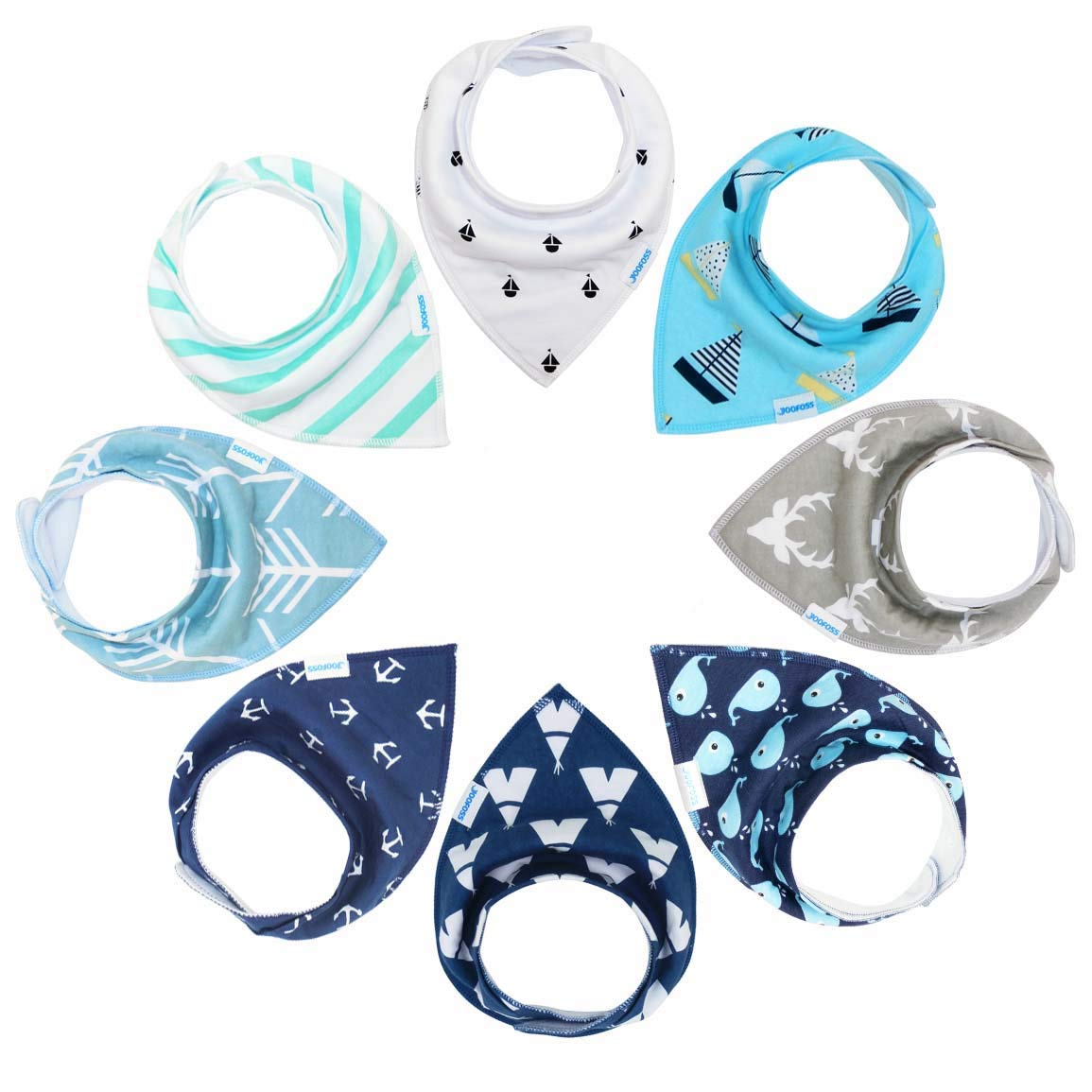 YOOFOSS Baby Bandana Drool Bibs for Teething and Drooling 8 Pack Soft and Absorbent for Boys & Girls BB9001