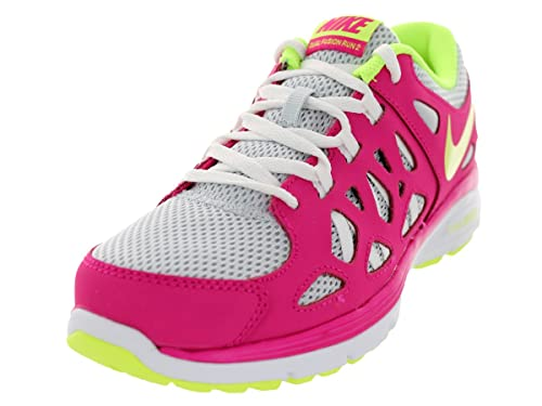 86f97d07bd Amazon.com | Nike Girls' Dual Fusion Run 2 6.5 Youth Pure Platinum/Volt  Ice/Pink | Running