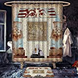 Custom Made Shower Curtains Egypt custom made Shower curtain with bath mat Eastern Heritage Ancient Egyptian Pharaoh Mummy Coffin Portrait Artwork Print Cloth Fabric Bathroom Set with Hooks Taupe Redwood
