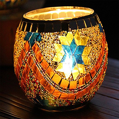 Stained Glass Christmas Candles - LISASTOR European Style Mosaic Glass Candle Holders For Festival Decoration (Gold Snowy)