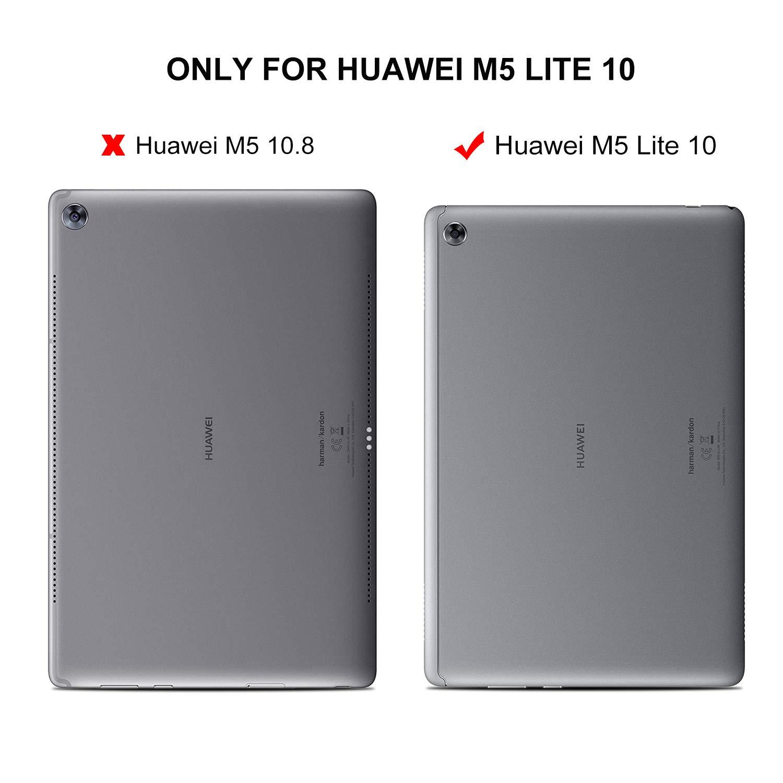 ELTD Funda Carcasa para Huawei MediaPad M5 Lite 10, Ultra Delgado Silm Stand Función Smart Fundas Duras Cover Case para Huawei MediaPad M5 Lite 10 ...