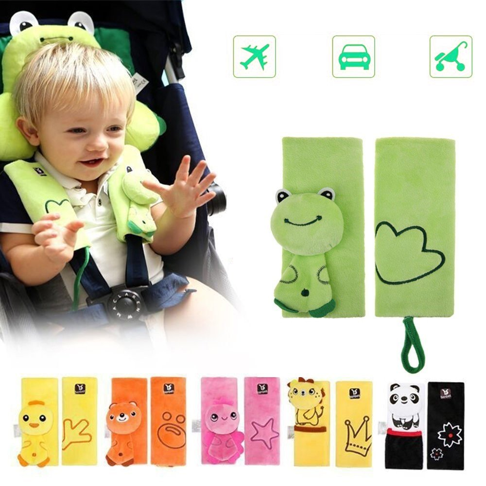 Double Sided Cartoon Animal Soft Seatbelt Strap Cover for Kids Infant Seat Belt Pad for Baby Carriage Car (Green Frog) Kui Ji B032
