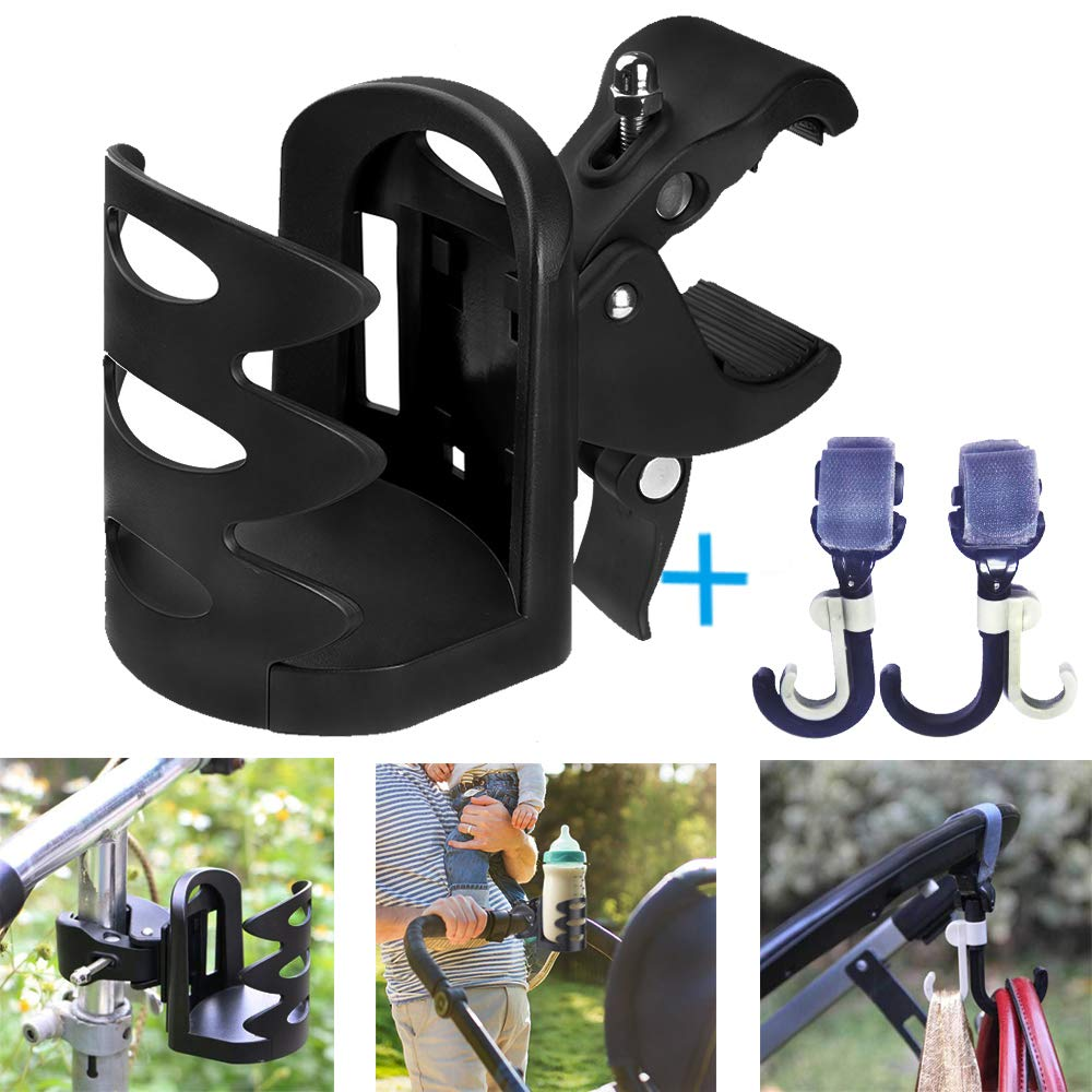 Universal Pram Cup Holder/Stroller Cup Holder with 2 Hooks, Pushchair,ABS Adjustable Bottle Organizer for Stroller, Drink and Coffee Cup Holder, Suitable for Baby Buggy and Bike