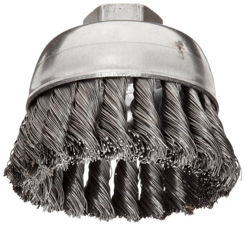 (Weiler Wire Cup Brush, Threaded Hole, Steel, Partial Twist Knotted, Single Row, 2-3/4