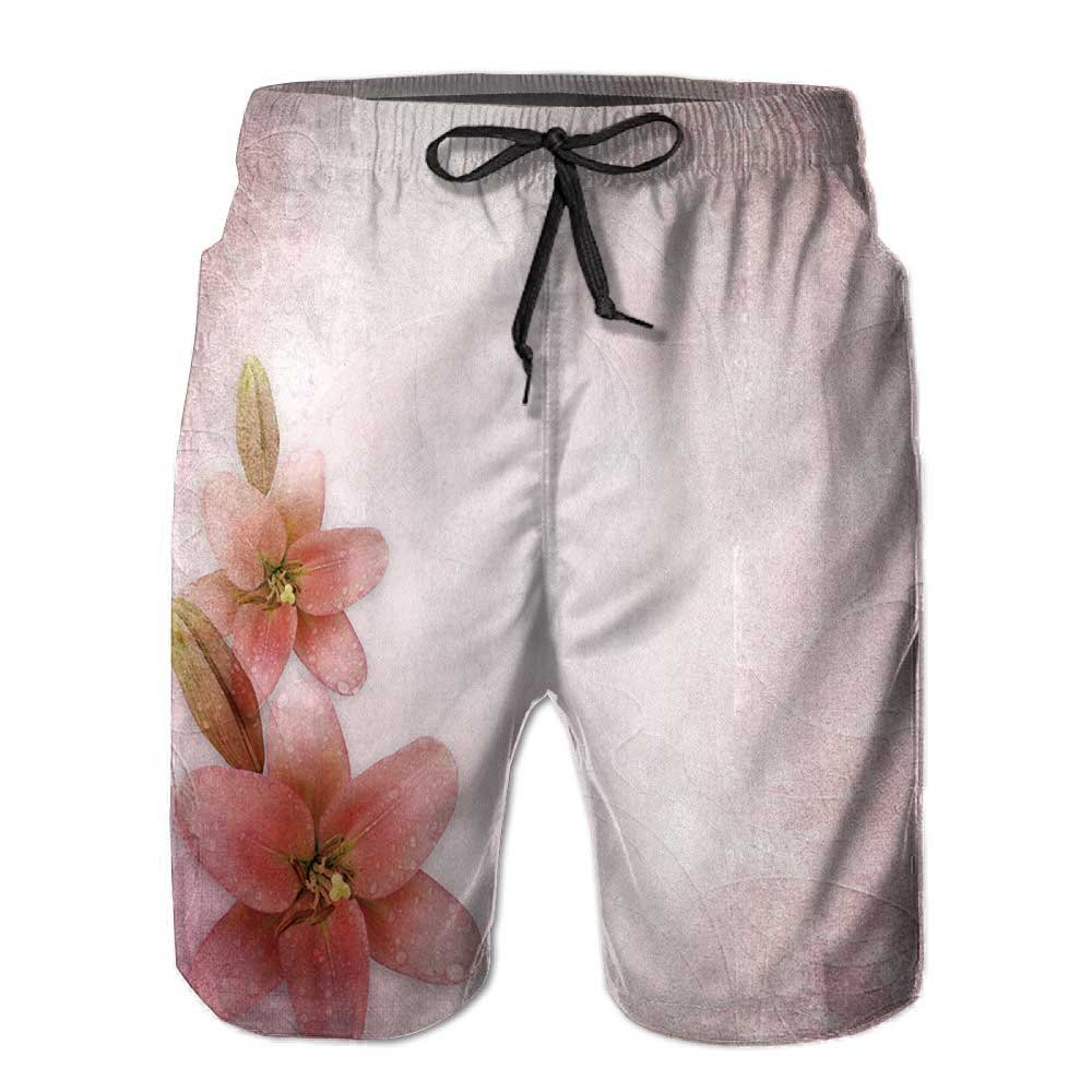 Men's Sportwear,Wedding Background with Lily Quick Dry Board Shorts