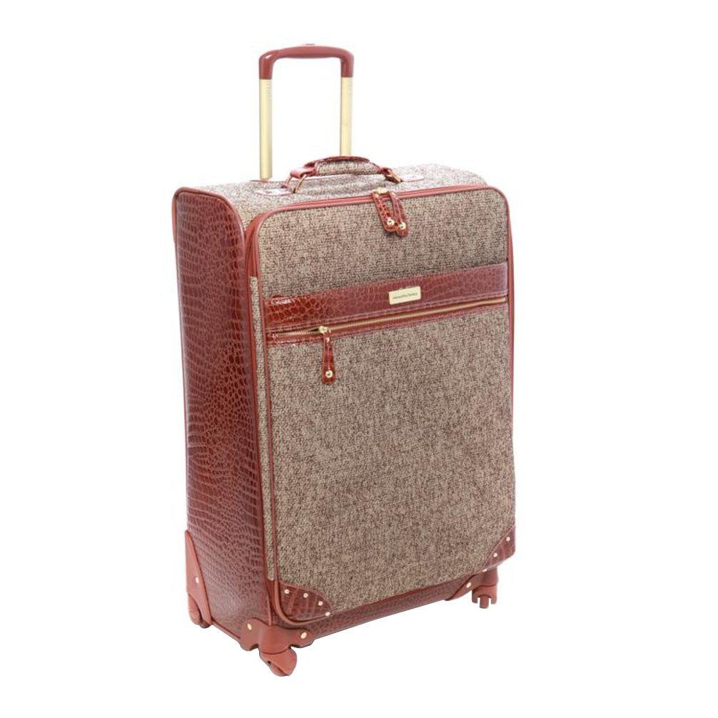Samantha Brown Tweed 25'' Upright Spinner Luggage Set - Tan