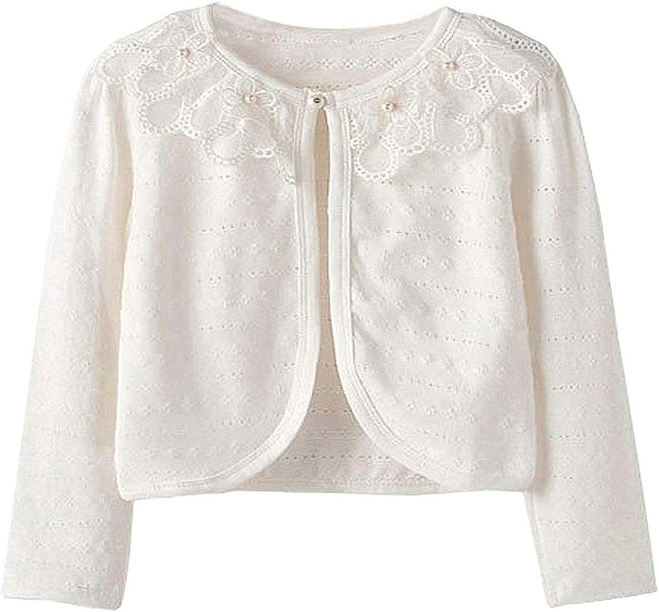 Guandiif Girls Lace Cardigans Long Sleeve Button Closure Bolero Cardigans  Shrugs Cover up Dress White Shrugs for Little Girl 105 White 8 Year(160):  Amazon.co.uk: Clothing