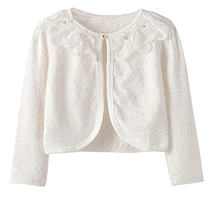 b95c5120e72d Guandiif Girls Lace Cardigans Long Sleeve Button Closure Bolero ...
