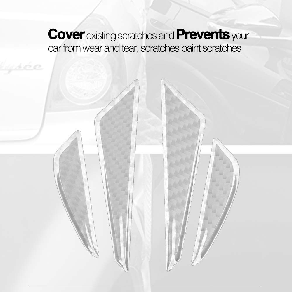 Silver CoolKo Newest Real Carbon Fiber Car Side Door Edge Scratch Protector Guard Stickers Protective Trims for Tesla Model S and X