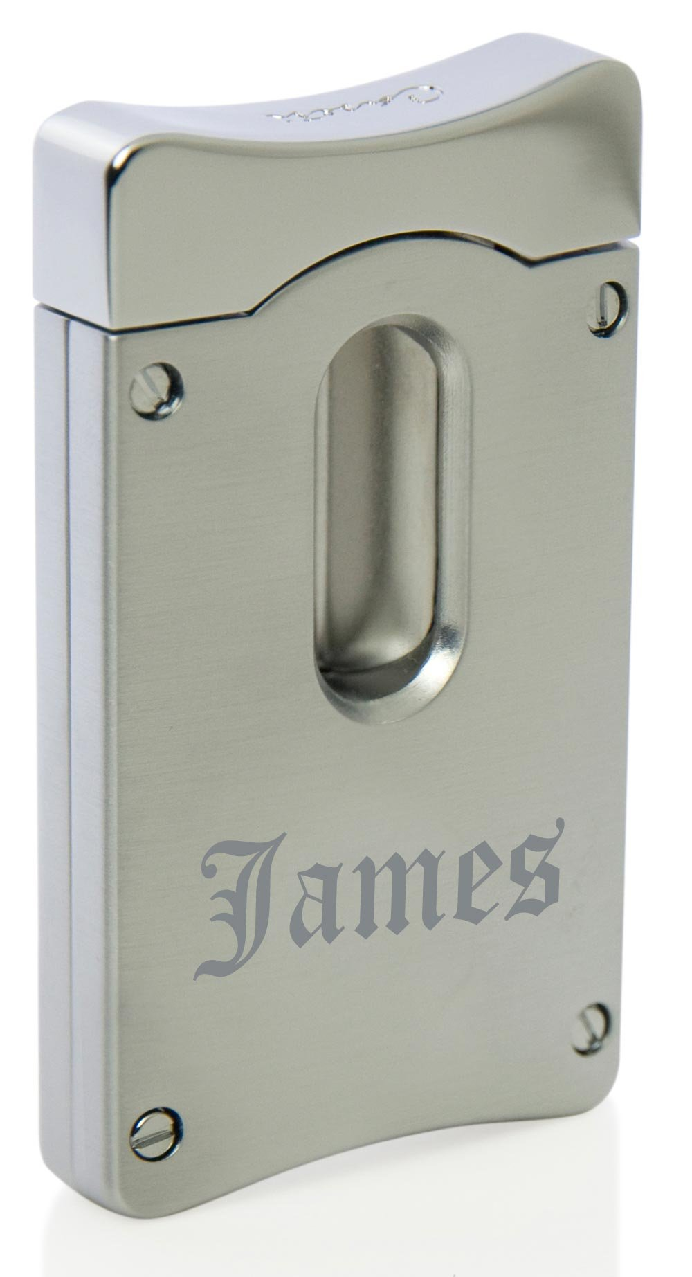 Personalized Caseti Wedge V Cigar Cutter - Satin Chrome with Free Laser Engraving