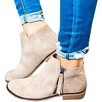 Botines Mujer Tacon Medio Planos Invierno Tacon Ancho Ante Piel Botas Botita Planas 2.5cm Casual Ankle Boots Suede Zapatos Caqui Beige Negros 35-43