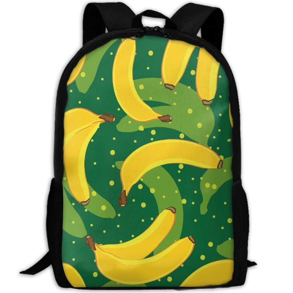OIlXKV Abstraction Cartoon Bananas Print Custom Casual School Bag Backpack Multipurpose Travel Daypack For Adult