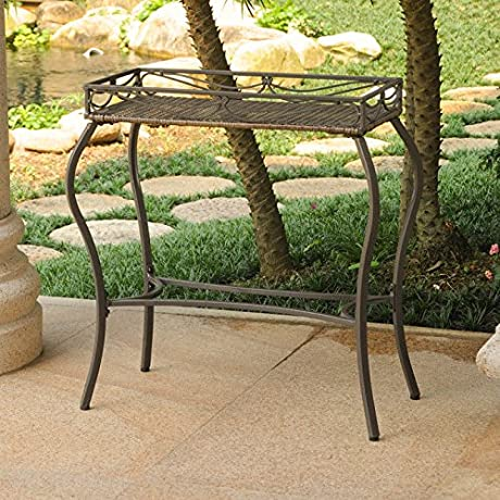 International Caravan Valencia Plant Table In Antique Brown