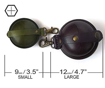 Ball Shape Black Leather Coin Purse/Leather Change Purse/Handmade Leather Purse