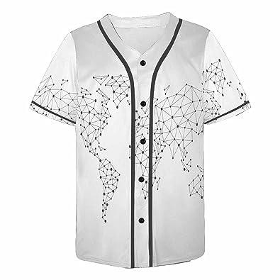 World Map Button Down Shirt.Amazon Com Interestprint Men S Button Down Baseball Jersey World