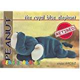 TY Beanie Babies BBOC Card - Series 1 Retired (RED) - PEANUT the Royal Blue Elephant