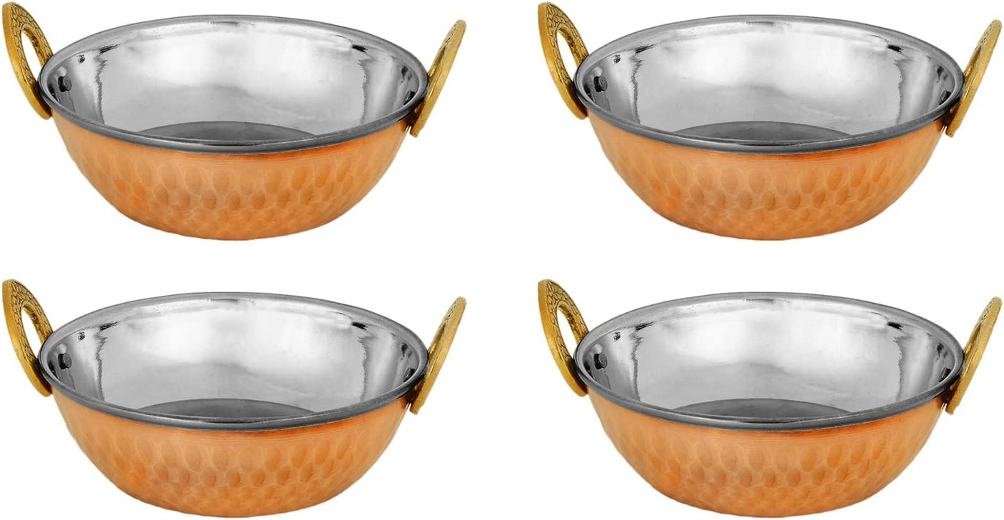 Zap Impex Indian Serving Bowl Copper Stainless Steel Hammered Karahi Indian Dishes Serve Ware for Vegetable and Curries (15 cm) Set of 4