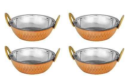 Zap Impex - Juego de 4 cuencos indios de cobre martillado, acero inoxidable, platos indios y curry pequeño (15 cm)