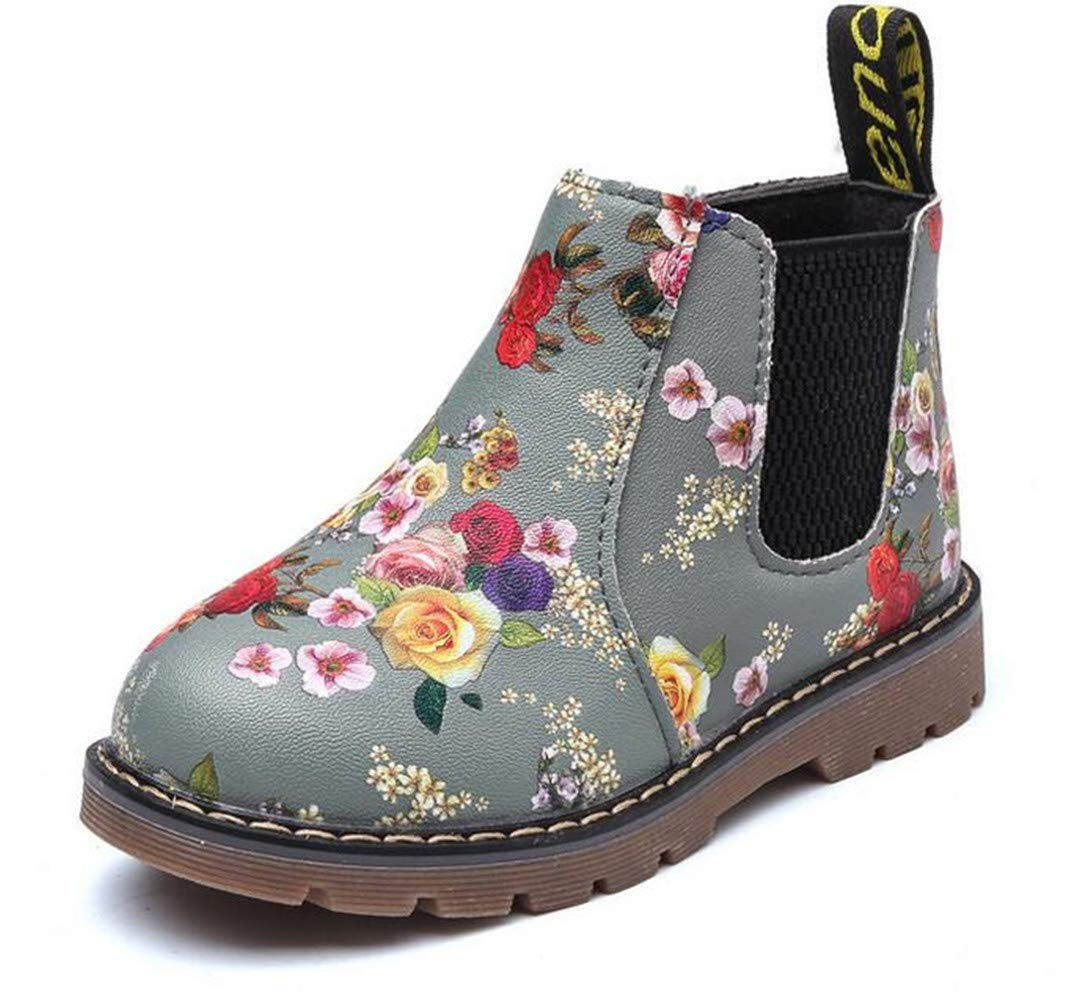 Bumud Boy's Girl's Waterproof Side Zipper Short Ankle Boot Cute Casual Shoes (Toddler/Little Kid) (9 M US Toddler, Grey)