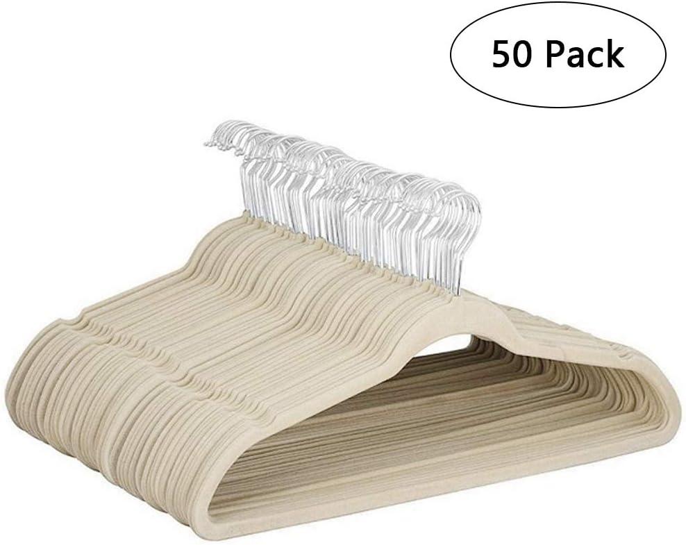 Youngshion - Perchas giratorias de terciopelo antideslizantes para ahorrar espacio, para adultos, abrigos, chaquetas, pantalones, Cuero, beige, 50-Pack