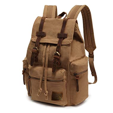 High Capacity Canvas Vintage Backpack - for School Hiking Travel 12-15.6  Laptop (Khaki)